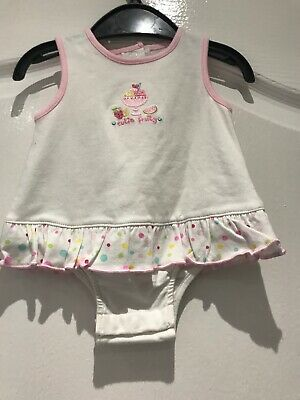 Baby Girls Cotton White Summer All In  One/Playsuit By George Age First Size