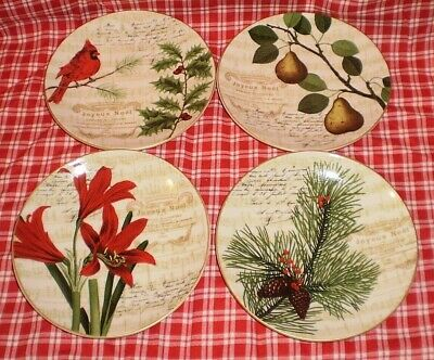 222 Fifth Noella Holiday Christmas Winter 4 PC Set Mini Appetizer Dessert Plates