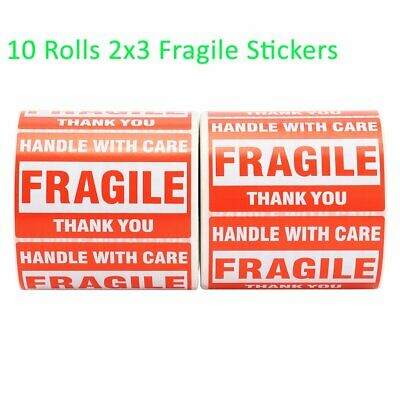 10 Rolls 500/Roll 2x3 FRAGILE Sticker Handle with Care Thank You Shipping Labels