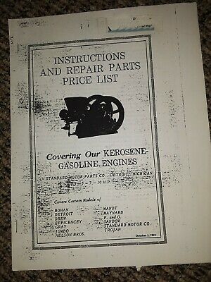 Nelson Bros. Hit Miss Engine Operating Instruction Book Sandow Bohan Jumbo