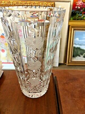 Amazing Large Crystal Vase Beautiful 9""
