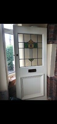 Antique Stained Glass Period original 1930's Front door and side Lights
