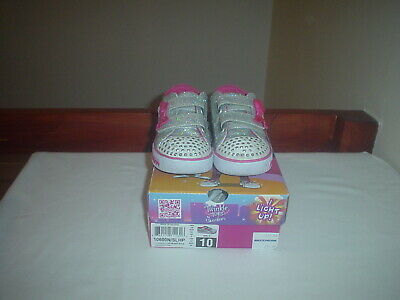 Girls Skechers Trainers, Silver, canvas sparkly, straps,  Size UK10 infant  EU26