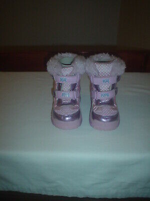 Girls Peppa Pig Snow Boots, Pink, textile, sparkly,straps,size UK 6 infant EU23