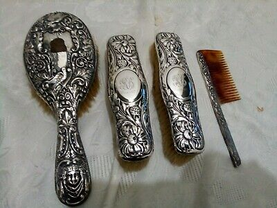 Antique silver dressing table set hallmarked