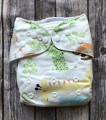NWOT One Size Cloth Flannel Animal Diaper with 2 inserts