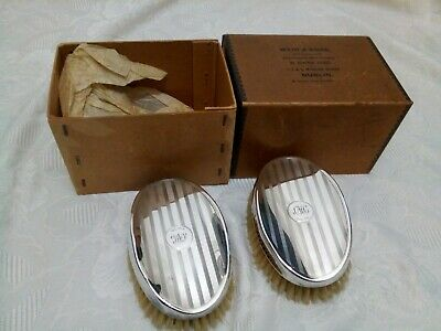 Antique solid Silver dressing table Brushes Boxed hallmarked