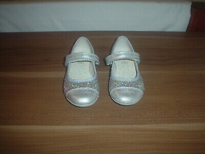 Girls Clarks Shoes, Silver, textile/leather,glitter, size UK 7F infant  EU24