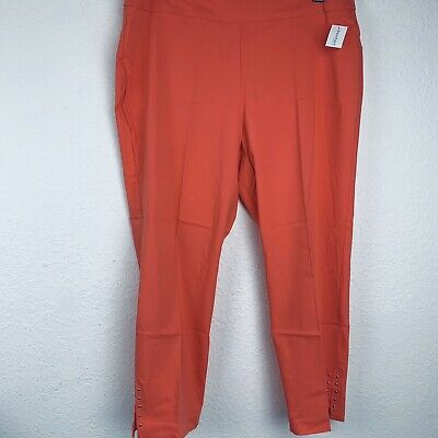 Roz & Ali Classic Pull On Ankle Coral Women Pants. Size 18W. New With Tags