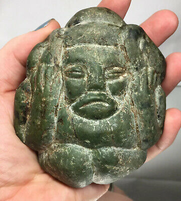 Pre-Columbian Green Stone Pounder Man Pestle Axe Mano God Deity Mayan Ancient