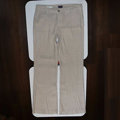 NYDJ Not Your Daughters Jeans Claire Trouser Linen Highrise Pants Womens Size 12