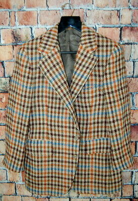 Vintage 38 S Paul Stuart 1/2 Lined Multi Color Tweed Chunky Hounds Tooth Blazer
