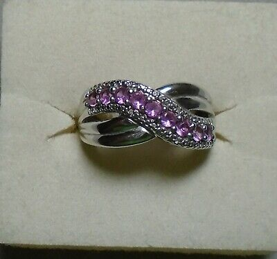 Sterling Silver 925 Lab Created Pink Sapphire Mom Ring Band Size 7