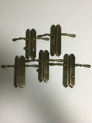 5 Pairs of French Brass Internal Sprung Lever Door Handles