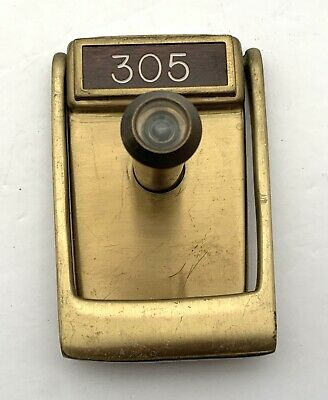 VINTAGE Mid-Century Brass DOOR-KNOCKER With PEEPHOLE & Room/Apt # 305/Name Plate