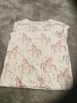 Girls white t shirt with pink unicorns age 8 years Next label