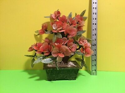 Vintage X large Chinese Jade Tree Pink Quartz Stone Flowers Bonsai 🌸🌺 🎁👍😊