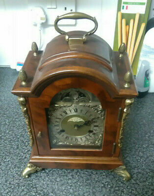 James Powell Mantel Clock Moon Dial Bell Key Wind Untested