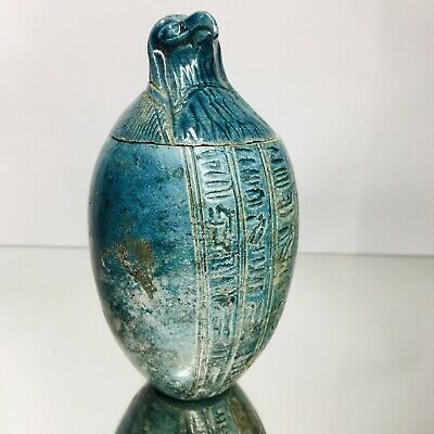 Ancient Egyptian Blue Faience Canopic Jar of Qebehsenuef  - Hawk God - Intestine