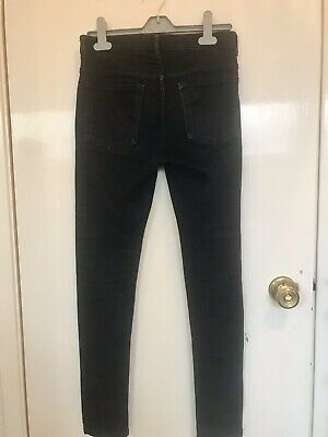 Boys M& S Black Denim Slim Jeans With Elasticated Waist Size 12-13