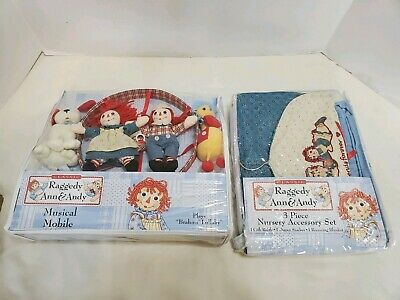 Raggedy Ann & Andy 3 Piece Nursery Accessory Set & Musical Mobile Brahms Lullaby