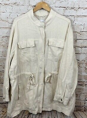 Old Navy safari utility Jacket womens 3X off white Cream Ivory Linen Blend D7