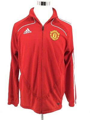 Adidas Mens Manchester United Jacket Med Red Long Sleeve Climacool