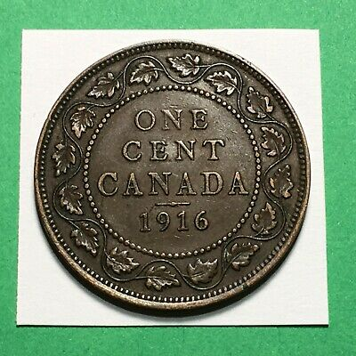 Free Ship & Track * 1916 One Cent Canada Large Cent Big Penny