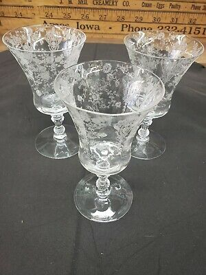 Cambridge Rose Point Clear Crystal #3500 Footed Tumbler 9oz Set Of 3 Cr