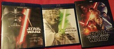 STAR WARS The Complete Saga Blu-ray & Force Awakens Dvd (7 Discs)
