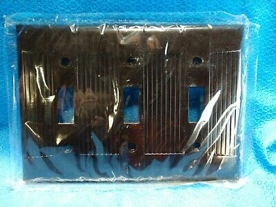 Vintage NOS EAGLE BROWN 3 Gang Switch Plate Cover Tuxedo Ribbed Wall Bakelite?