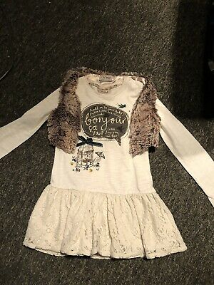 Girls Next Tunic Top With Fur Gilet Age 4-5 Yrs