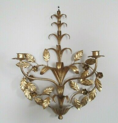 Vintage Italian Florentine Gold Gilt Metal Candle Wall Sconce