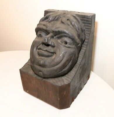 LARGE antique hand carved wood figural wall shelf architectural corbel sculpture
