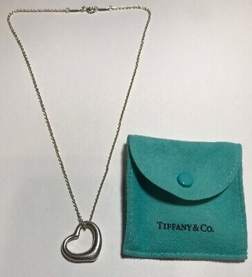 "Tiffany & Co. Elsa Peretti Open Heart Pendant, 16"" Necklace 925 Sterling Silver"