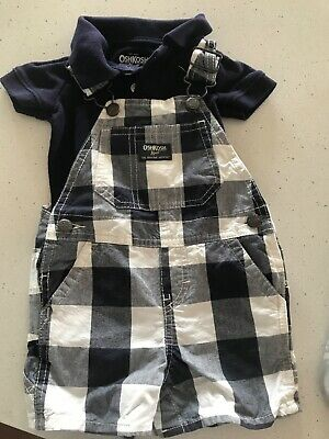 Baby Oshkosh overall and body suit, navy/white check size 6months