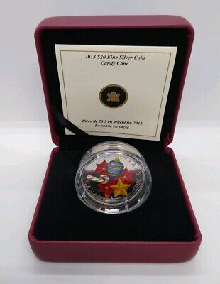 2013 $20 Canada Silver Murano Holiday Candy Cane Complete As Issued!