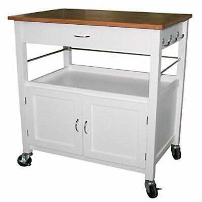 Bedford White Home Kitchen Pantry Cart Butcher Block Top Rolling Bar Island 177 92 Picclick