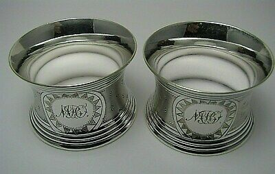 "SET of 2 SILVER PLATED NAPKIN RINGS NAPKIN HOLDERS by EM France 1900s Mono ""MBO"""