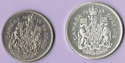 Canada Elizabeth II 50 Cents 1964 Royal Canadian Mint, Ottawa, 1972 silver coin