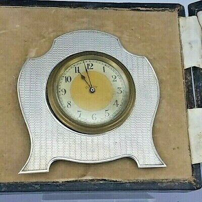 1929 Art deco 8 day silver framed clock with easel in original box.
