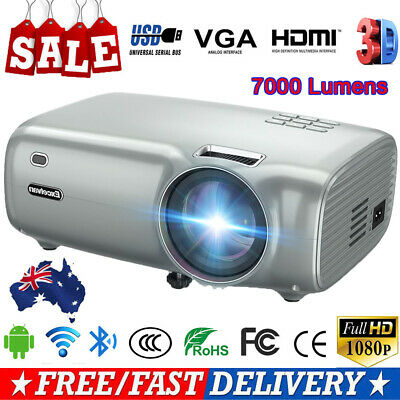 Protable Full HD Mini Wifi Android Video Projector Home Theater 1080p HDIM USB