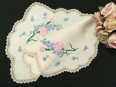 Stunning Vintage Hand Embroidered Centrepiece with Pink Roses
