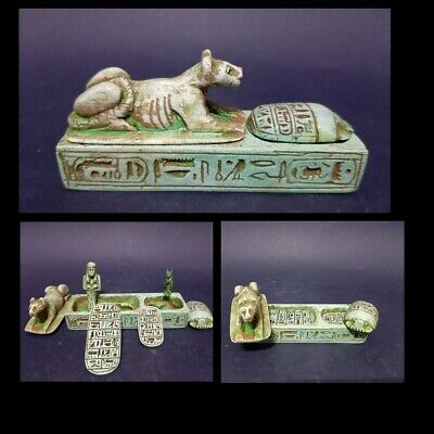 Ancient Egyptian Antiques Box (Lion, Scarab, 2 Talisman 1 USHABTI, 1 Ubasti)BC