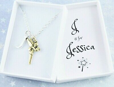 Fairy Necklace, Personalised With Name and Initial, Gold Pixie, Gifts For Girls