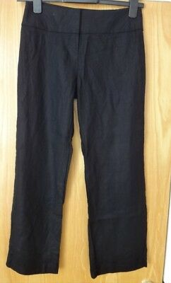 M & S Black Trousers With Linen BNWT Size 8 Standard Petite