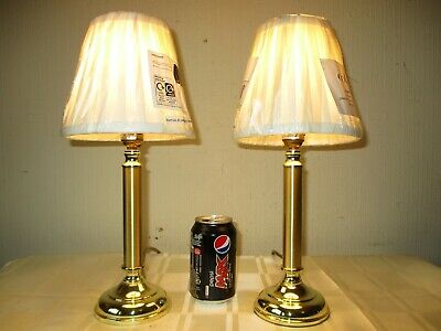 Pair Of Vintage Solid Brass Bedside Table Lamps With New Quality Shades