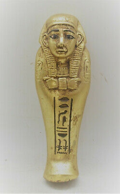 Superb Ancient Egyptian Gold Gilded Faience Ushabti Shabti With Heiroglyphics