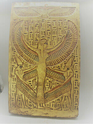 Scarce Ancient Egyptian Gold Gilded Stone Relief Panel With Heiroglyphs Superb