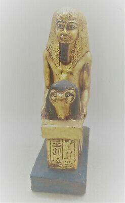 Scarce Ancient Egyptian Gold Gilded Stone Statuette Pharoah And Head Of Horus